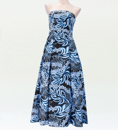 ストラップレス ロング丈ドレス ブラック×ブルー F