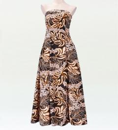 ストラップレス ロング丈ドレス ブラック×オレンジ F