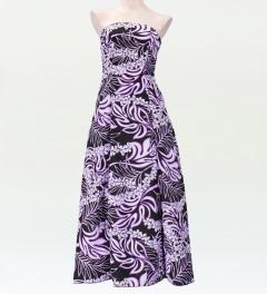 ストラップレス ロング丈ドレス ブラック×パープル F