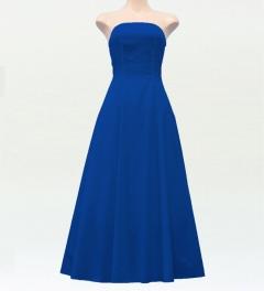 ストラップレス ロング丈ドレス ブルー F