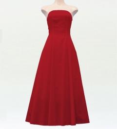 ストラップレス ロング丈ドレス レッド F