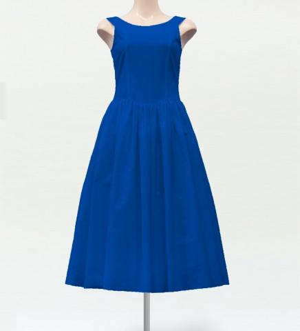ミディ丈ヨークドレス ブルー